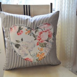 Hearts and Stripe Ticking Pillow Cover .  Romantic Home Decor Pillow Cover . Vintage Rose Heart .  Zipper Closure . by SeamsOriginal