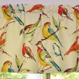 Bird Curtain . Bird Valance . Richloom Birdwatcher Meadow Design . FULLY Lined . Can Make CUSTOM Sizes.  Beautiful Handmade by SeamsOriginal
