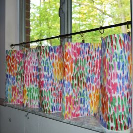 Kitchen Valance . Custom Curtains .  Make it Rain – Fiesta . Lined or Unlined . So Colorful . Handmade by Seams Original