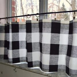 Cafe Curtains . Black and White Buffalo Plaid . Premier Prints Black and White Check . Custom Sizes by Request . by SeamsOriginal