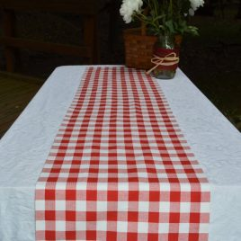 Table Runner . Red and White Plaid Table Runner . Picnic .  . Handmade by Seams Original