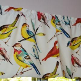 Bird Curtain . Scalloped Valance . Richloom Birdwatcher SUMMER Design . FULLY Lined . CUSTOM Sizes by Request. Handmade by Seams Original