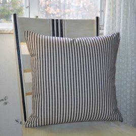Black and White Stripe Ticking Pillow Cover .  Farmhouse Pillow Cover .  Zipper Closure . by SeamsOriginal