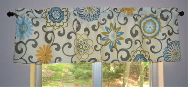 Window Valance . Waverly Pom Pom Play Spa . Swirls of Gray on a Cream Floral Print . FULLY Lined . Kitchen Valance .  By Seams Original